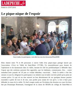 LaDépêche.fr - 2016_07_15 - Le pique-nique de l'espoir