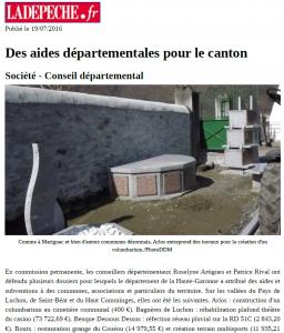 LaDépêche.fr - 2016_07_19 - Des aides départementales pour le canton