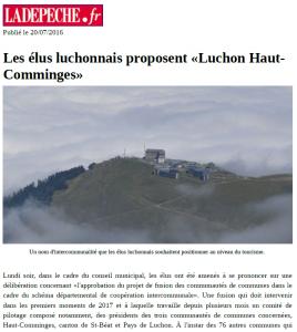 LaDépêche.fr - 2016_07_20 - Les élus luchonnais proposent Luchon Haut-Comminges