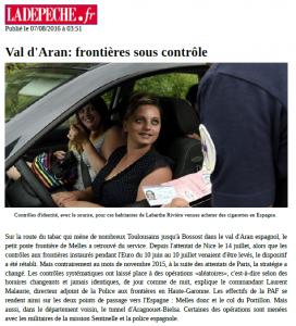 LaDépêche.fr - 2016_08_07 - Val d'Aran - frontières sous contrôle