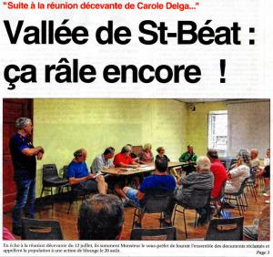 Le Petit Journal - 2016_08_03 - Vallée de Saint-Béat - la colère ne faiblit pas