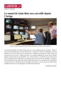 LaDépêche.fr - 2016_09_01 - Le tunnel de Saint-Béat sera surveillé depuis l'Ariège